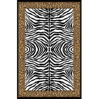 Home Dynamix Zone Ebony Zebra/Leopard Print Rug   zone/75/ebony