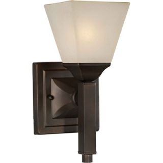Forte Lighting One Light Wall Sconce with Umber Glass Shade in Antique