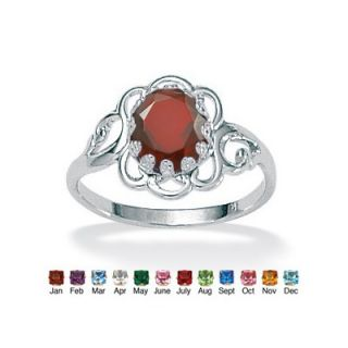 Palm Beach Jewelry Simulated Birthstone Sterling Silver Ring