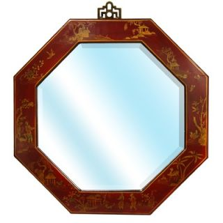 Oriental Furniture Octagonal Wall Mirror in Antique Red Lacquer   LQ