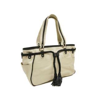 Piel Womens Braided Belt Shoulder Bag in Ivory with Black Trim