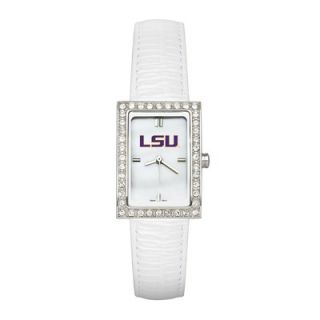 LogoArt® NCAA Ladies Fashion Watch with White Leather Strap