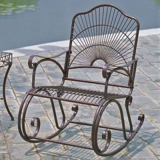 International Caravan Iron Patio Sun Ray Bronze Rocking Chair   3482