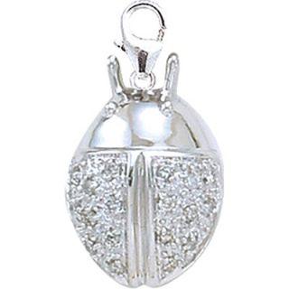 EZ Charms 14K White Gold Diamond Ladybug Charm