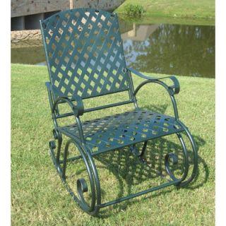 International Caravan Iron Patio Diamond Lattice Rocking Chair in Dark