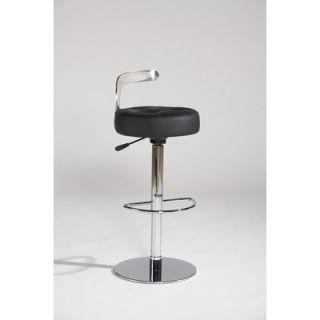 Chintaly Canal Adjustable Leather Swivel Stool in Black   CANAL AS