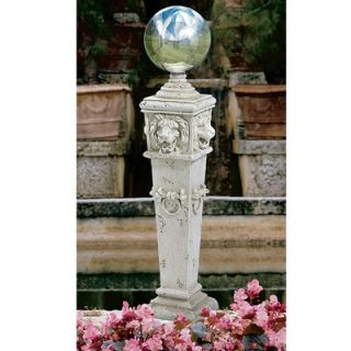 Design Toscano Lion Head Gazing Globe Pillar Garden Statue