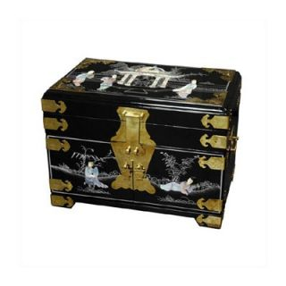 Oriental Furniture Chinese Daisy Jewelry Box With Mirror   LCQ 23