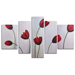 My Art Outlet Hand Painted Red Flimsy Poppies 5 Piece Canvas Art Set