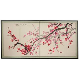 Oriental Furniture Plum Blossom Silk Screen with Bracket   SILK