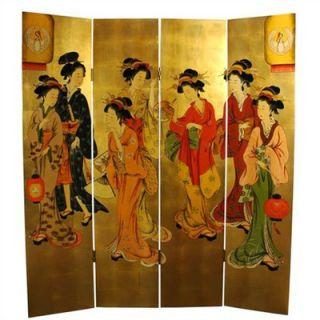 Oriental Furniture Golden Geisha Decorative Room Divider   lcq scr