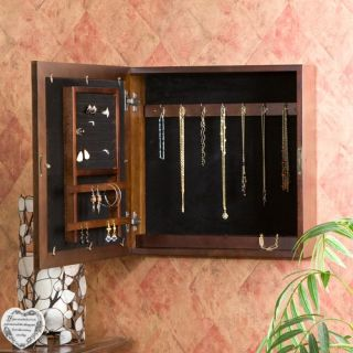 Oakton Espresso Square Wall Mount Jewelry Armoire in Espresso