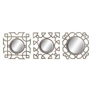 Aspire Metal Abstract Wall Decor with Mirror (Set of 3)