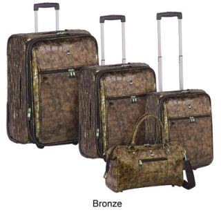 Travel Concepts Metallic Croco 4 Piece Luggage Set