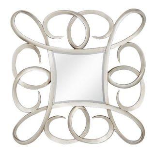 Majestic Mirror Contemporary Beveled Square Mirror in Bright Silver
