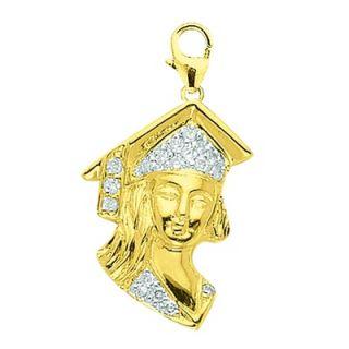EZ Charms 14K Yellow Gold Diamond Girl Graduate Charm
