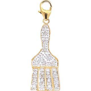 EZ Charms 14K Yellow Gold Diamond Paintbrush Charm