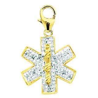 EZ Charms 14K Yellow Gold Diamond Medical Symbol Charm