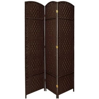 Oriental Furniture Diamond Weave 3 Panel Room Divider in Dark Mocha