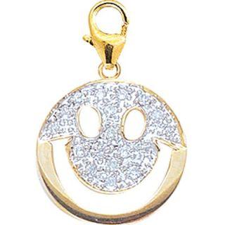 EZ Charms 14K Yellow Gold Diamond Smiley Face Charm