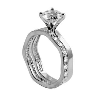 Palm Beach Jewelry Platinum/Silver Round Cubic Zirconia Wedding Set
