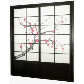 Oriental Furniture Cherry Blossom Shoji Sliding Door Kit in Black