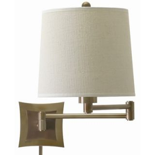 House of Troy 3 Way Wall Swing Lamp in Antique Brass with Linen