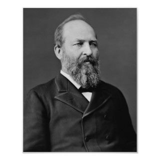 This vintage American history photo features President James Garfield
