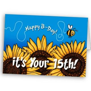 bee trail sunflower   15 years old card