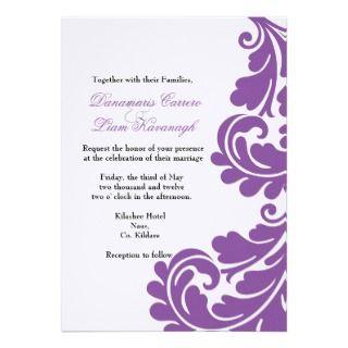 Damask Purple and White Wedding invitation  Custom