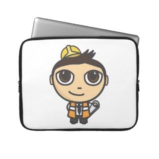 Builder Cartoon Character Laptop Sleeve 15