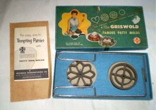 Vintage Griswold Famous Patty Molds Cast Iron Box Recipe Instuctions