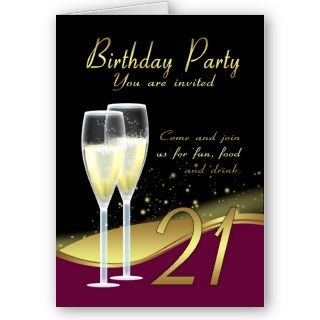 Stylish 21st Birthday Party Invitation Card