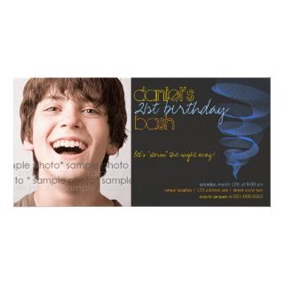 Twister  Blue 21st Birthday Invitation Photo Card
