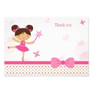 Sweet ballerina girls birthday thank you card