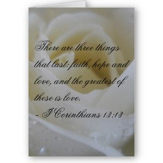 White Rose Bible Verse Wedding Greeting Greeting Card