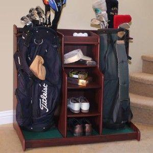 New Double Golf Bag Gear Rack Golf Shoe Storage Organizer
