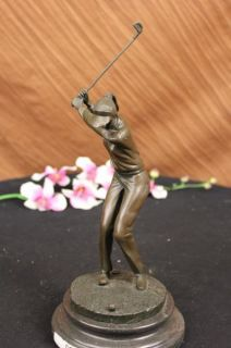 HAPPY LADY GOLFER BRONZE SCULPTURE SPORT STATUE FIGURE FIGURINE ART