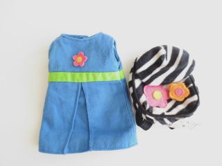Groovy Girl Doll CLOTHES Blue Cotton Dress Flower Detail Zebra