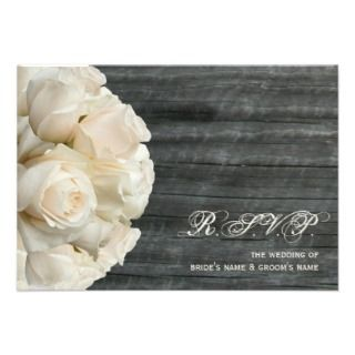 White Roses & Barnwood Wedding Personalized Invitations