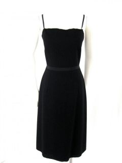 New York Black Wool Grosgrain Ribbon Spaghetti Strap Dress 8