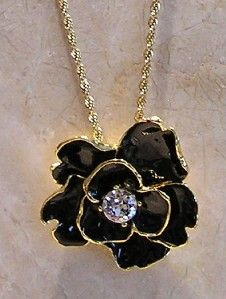 Kenneth Jay Lane Couture Black Camellia Flower Pendant Necklace