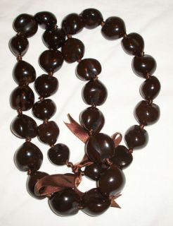 Kukui Nut Lei Hawaiian Hawaii Necklace Brown Original