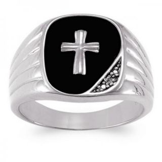 Mens Sterling Silver Rectangular Cut Genuine Black Onyx Cross Ring
