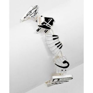 Music Piano Bracelet Keyboard Metronome Black White Silver Tone New