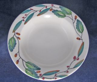 Hartstone Pottery Mistletoe White Large Rim Soup Bowl Christmas