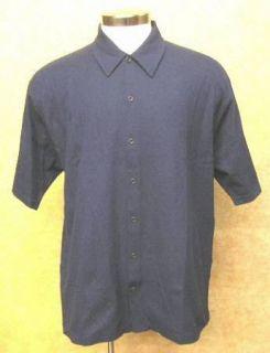 Hawaiian Tropic Camp Style Button Front Navy Golf Shirt Medium New