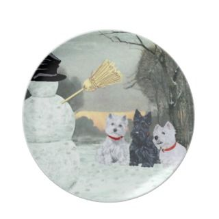Westies and Scottie Christmas Plate