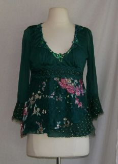 Anthropologie Hazel green sequins lacey shirt top small S floral