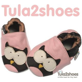 Tula2shoes LEATHER BABY GIRLS SOFT PINK OWL FIRST/PRAM SHOES 0  6 12
